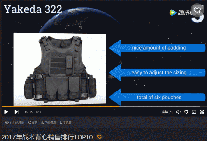 YAKEDA tactical vest sales in 2017 into TOP5